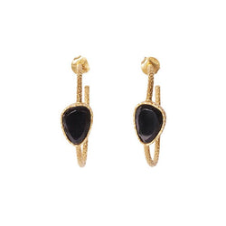 Hoop Earrings - Black Onyx - Christina Greene LLC