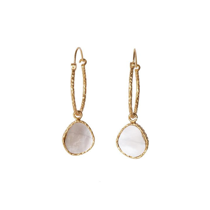 Mini Hoop Earrings - Pearl - Christina Greene LLC