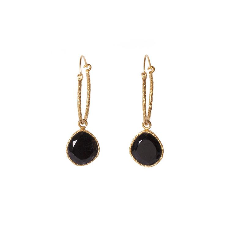 Mini Hoop Earrings - Black Onyx - Christina Greene LLC