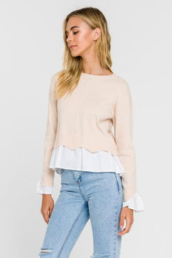 Scalloped Hem Poplin Combo Sweater