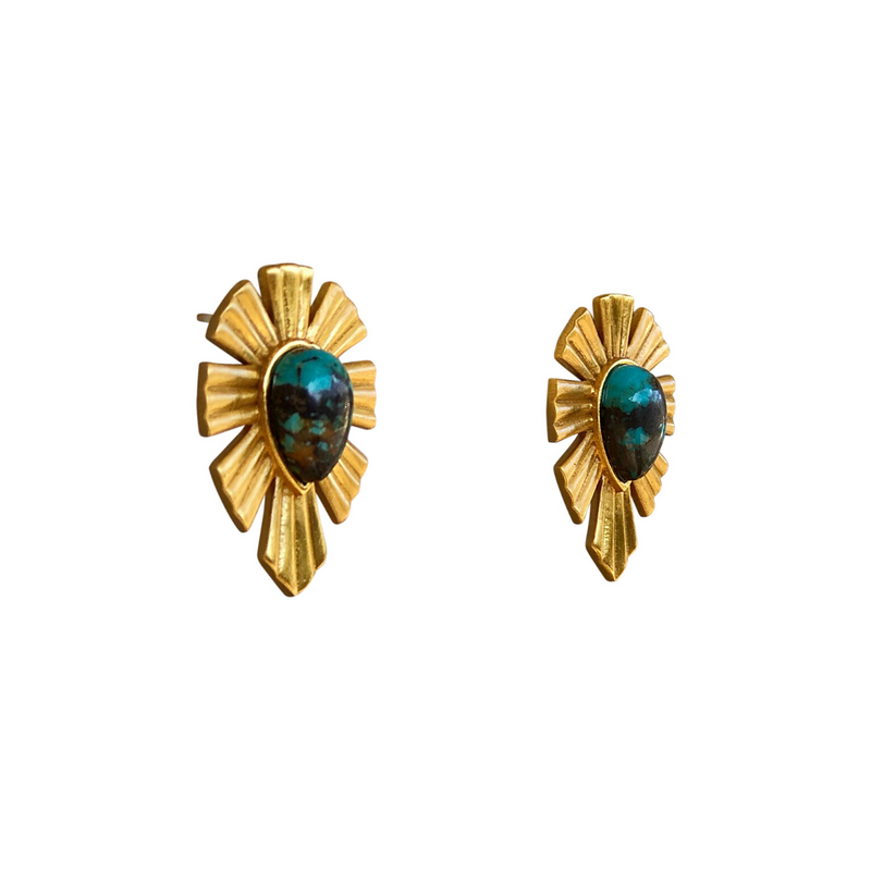 Gold & Bold Stud Earrings - Turqouise - Christina Greene LLC