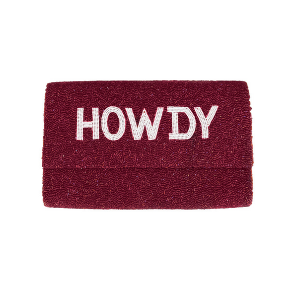 Custom Howdy Fully Beaded Clutch Purse - Christina Greene LLC