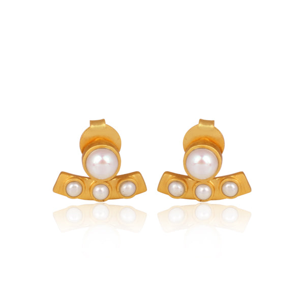 Pearl Curved Bar Stud Earrings