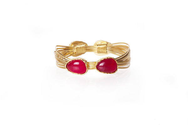 Wire Bangle - Red Quartz - Christina Greene LLC