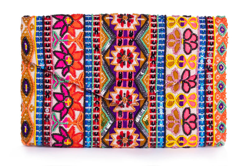 Embroidered Flower Clutch - Christina Greene LLC
