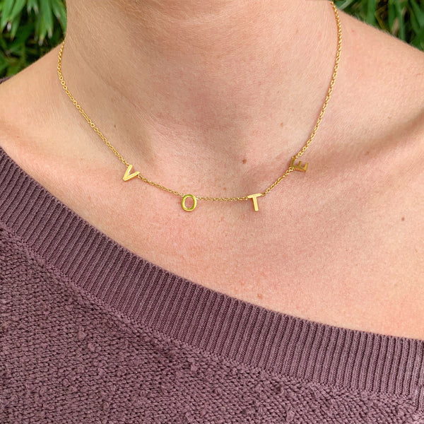 dainty gold letter necklace