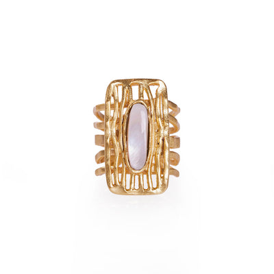 Deco Shield Ring - Pearl
