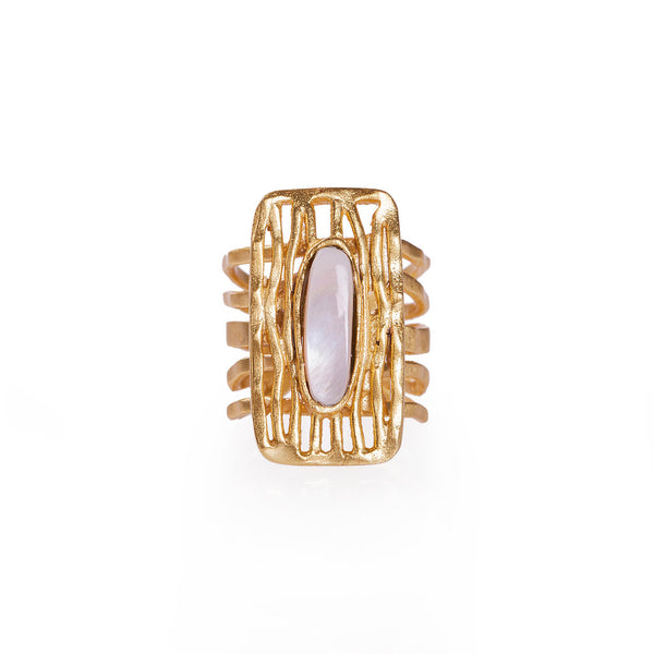 Deco Shield Ring - Pearl - Christina Greene LLC