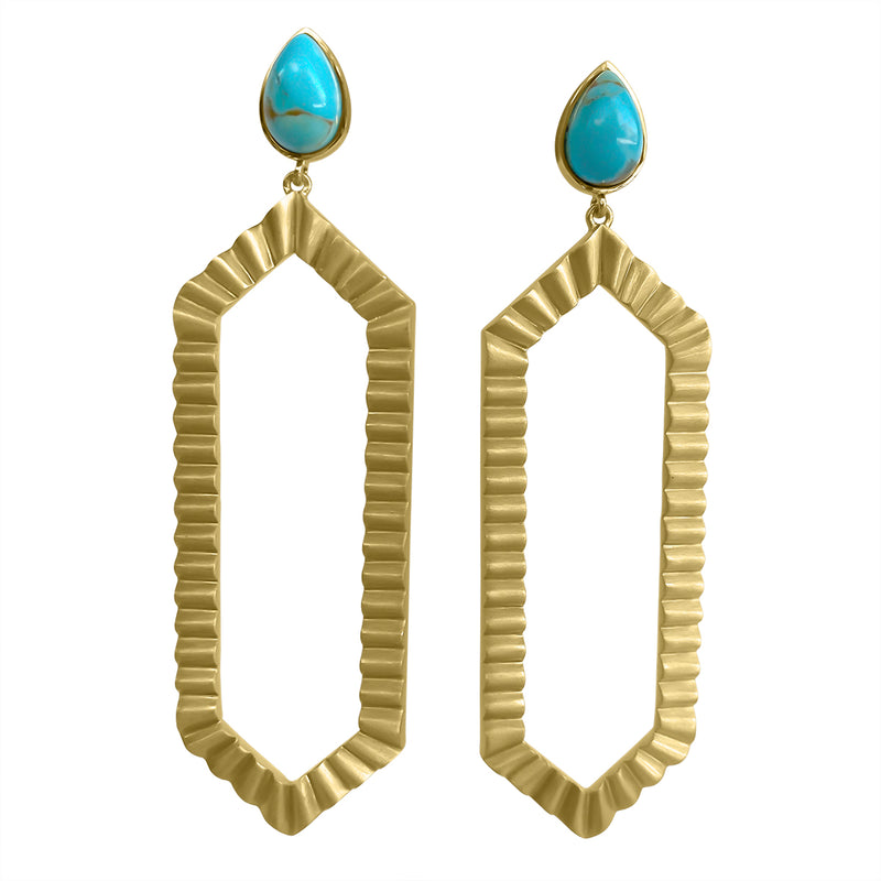 Strike Bold Statement Earrings - Turquoise