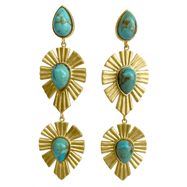 Royal Radiance Earrings - Turquoise