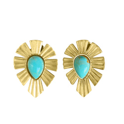 Gold & Bold Stud Earrings - Turqouise