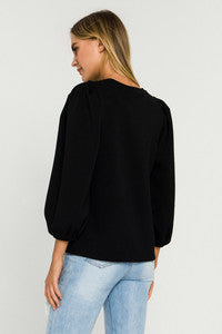 Puff Sleeve Scuba Top - Black