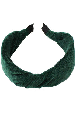 Twisted Ribbed Knit Headband - Green - Christina Greene LLC