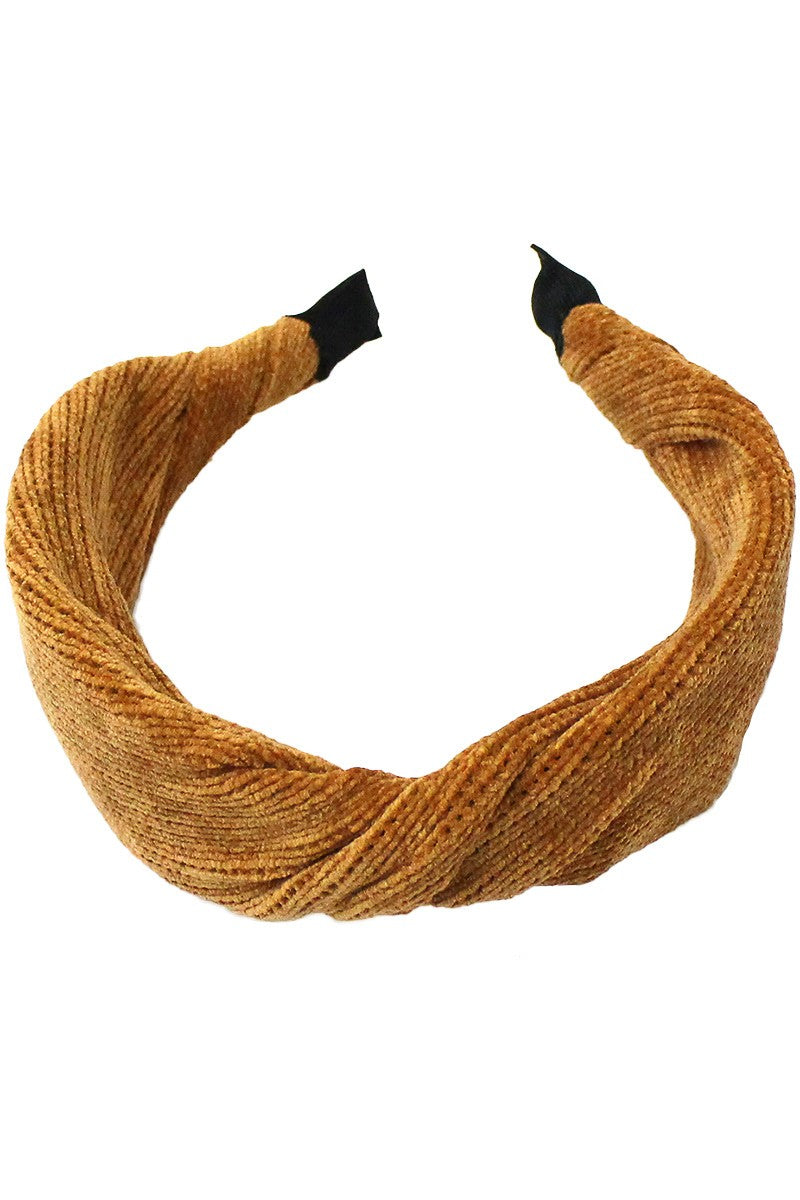 Twisted Ribbed Knit Headband - Mustard - Christina Greene LLC