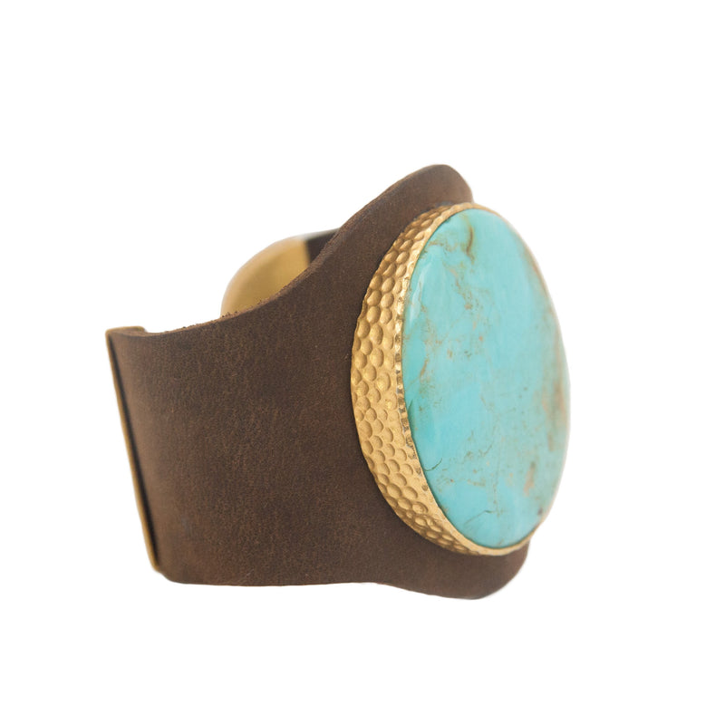 Leather Cuff - Turquoise - Christina Greene LLC