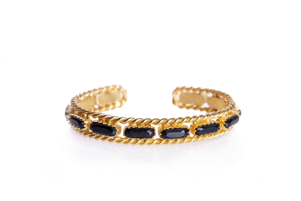 Cable Bangle - Christina Greene LLC, 18K Gold Plated, Chain Detail, Stones