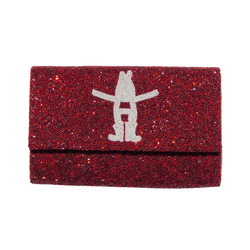 Houston Rodeo Logo Fully Beaded Clutch - Metallic Red