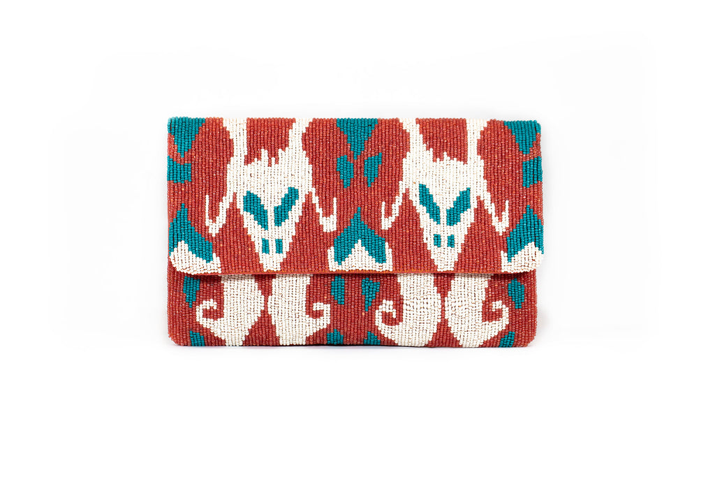 Coral and Teal Beaded Clutch - Christina Greene LLC
