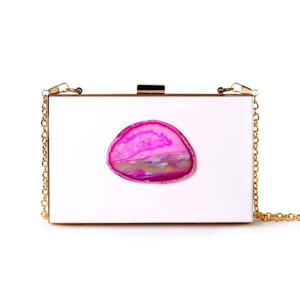 Agate Evening Clutch - White/Pink