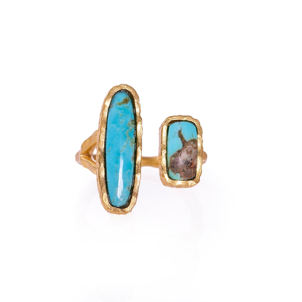 Deco Twin Stone Ring - Turquoise/Turquoise