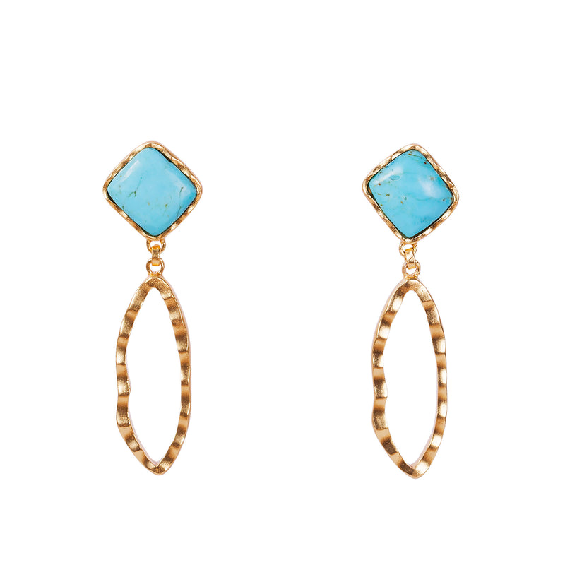 Deco Ovate Earring - Turquoise - Christina Greene LLC