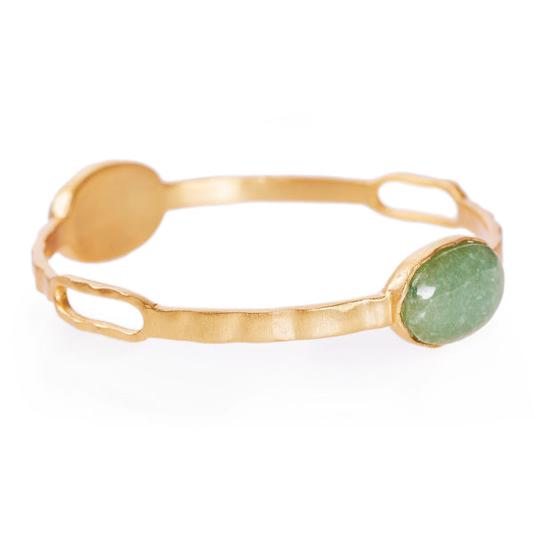 Deco Twin Stone Bangle - Aventurine - Christina Greene LLC