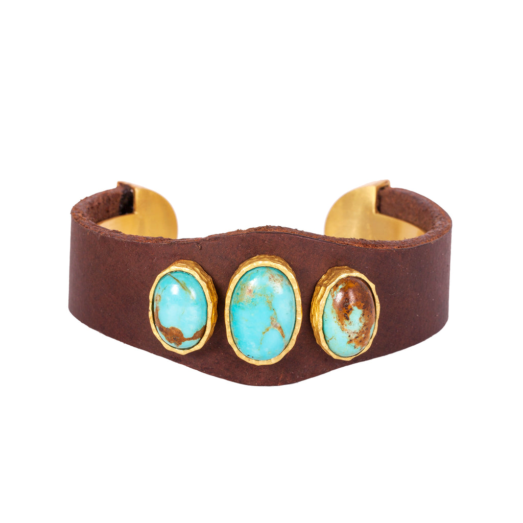 Earthy Cuff - Christina Greene LLC, Brown Leather, Three Stone, Gold, Adjustable