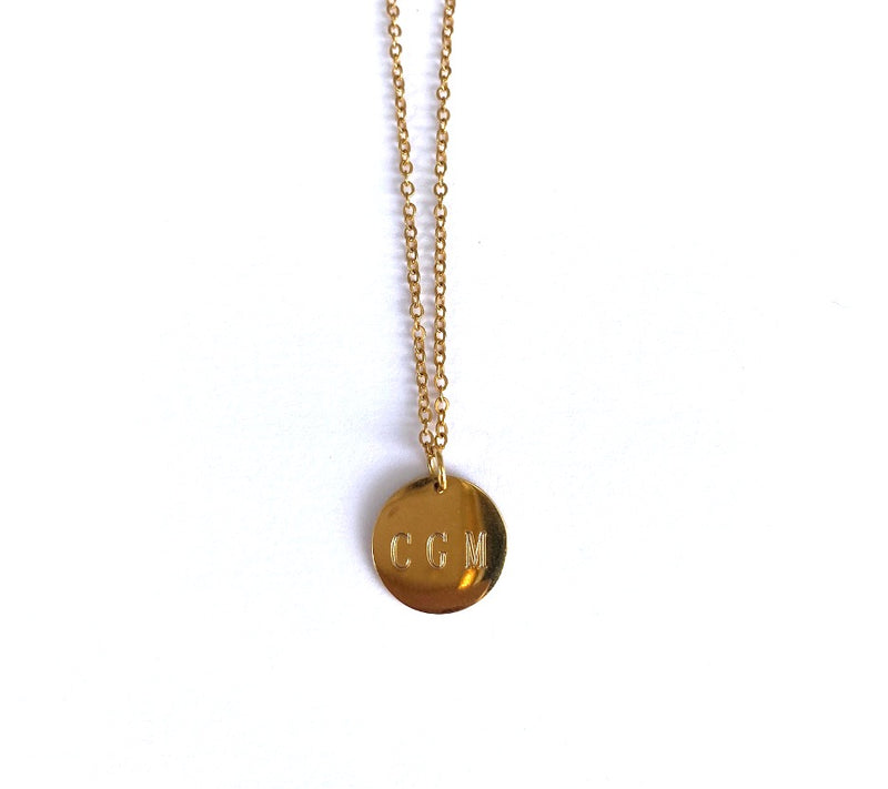 Custom Engraved Gold Charm Necklace