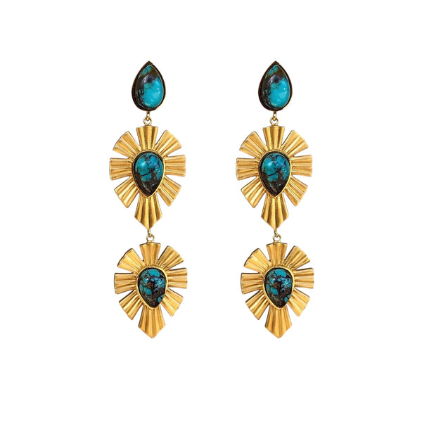 Royal Radiance Earrings - Turquoise - Christina Greene LLC