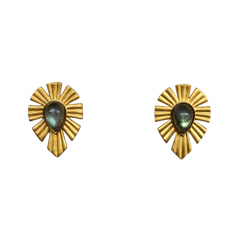 Gold & Bold Stud Earrings - Labradorite - Christina Greene LLC