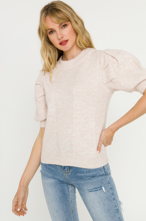 Short Puff Sleeve Sweater