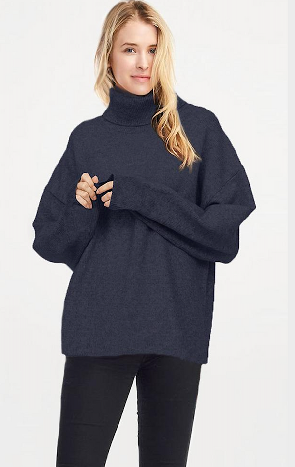 Turtleneck Sweater Poncho - Denim