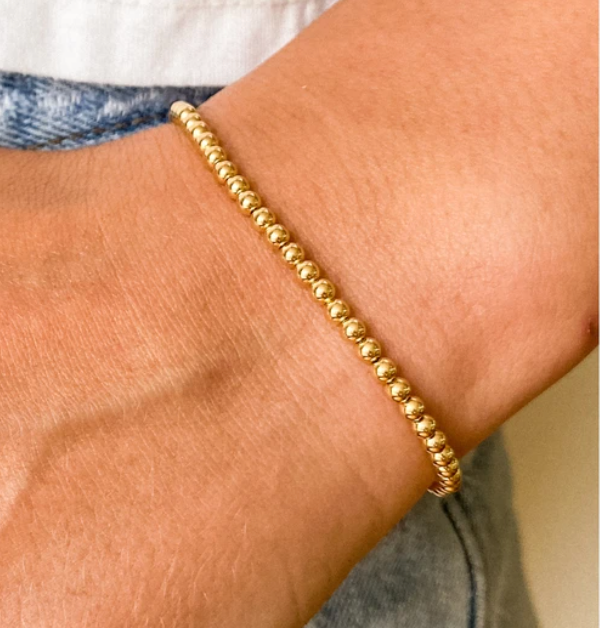 3mm Gold Beaded Bracelet
