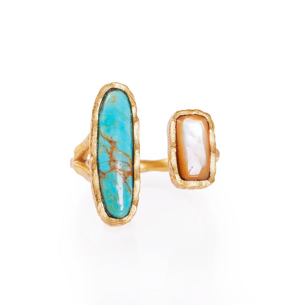 Deco Twin Stone Ring - Turquoise/Pearl - Christina Greene LLC