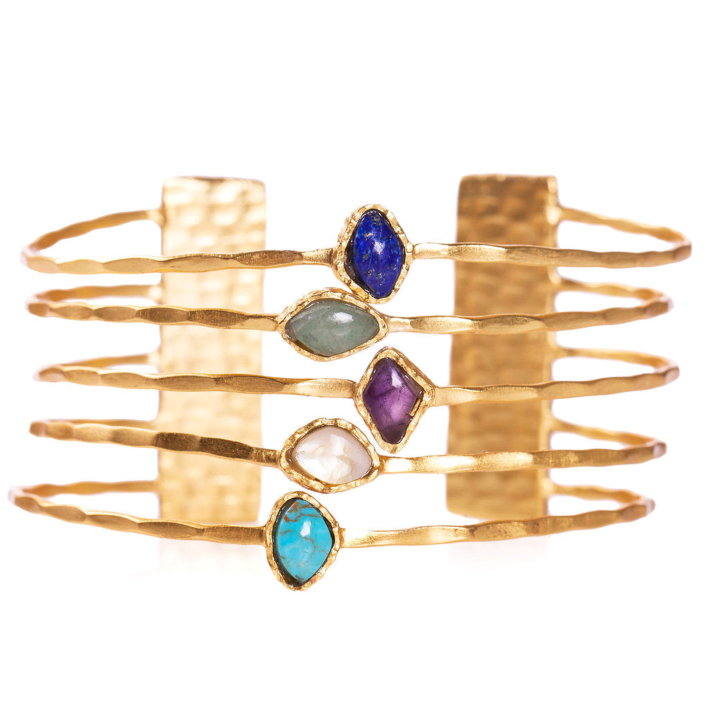 Deco Five Stone Bangle - Christina Greene LLC