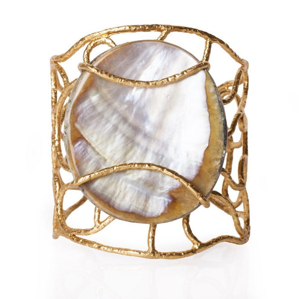 Tribeca Wire Cuff - Pearl - Christina Greene LLC
