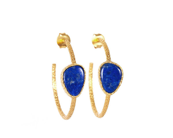 Hoop Earrings - Lapis - Christina Greene LLC