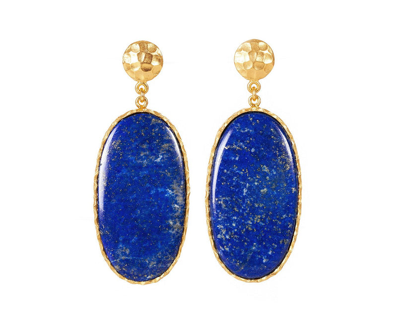 Large Drop Earrings - Lapis - Christina Greene LLC