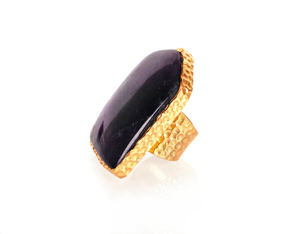 Shield Ring - Amethyst - Christina Greene LLC