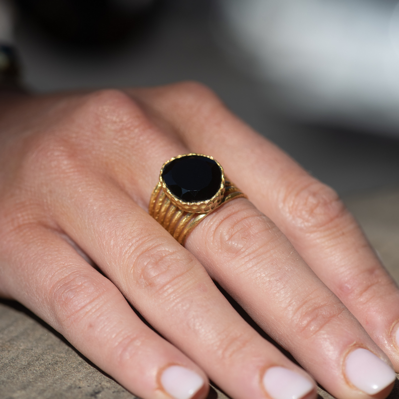 Stackable Ring - Black Onyx - Christina Greene LLC
