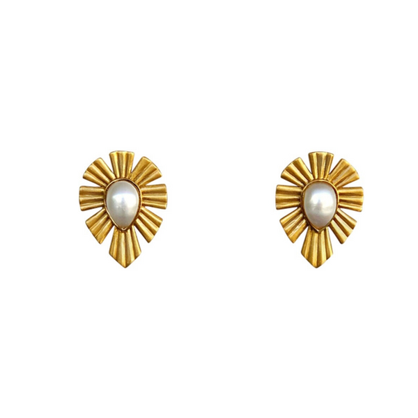 Gold & Bold Stud Earrings - Pearl - Christina Greene LLC