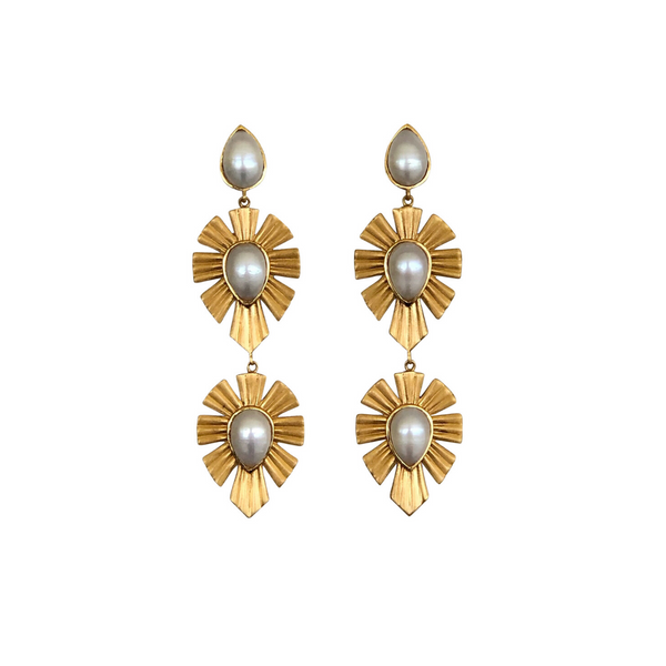 Royal Radiance Earrings - Pearl - Christina Greene LLC