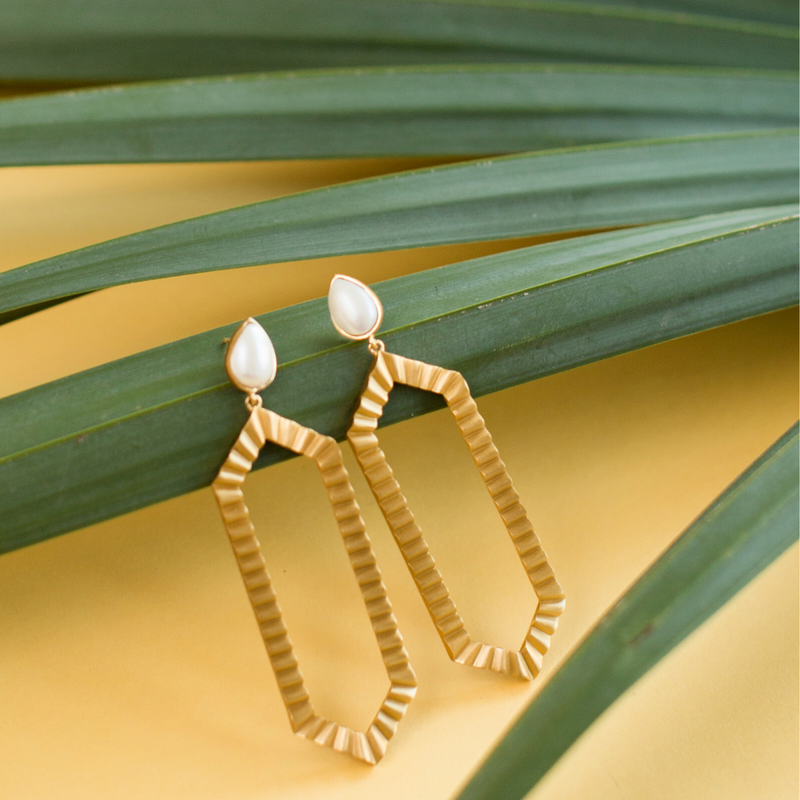 Strike Bold Statement Earrings - Pearl - Christina Greene LLC