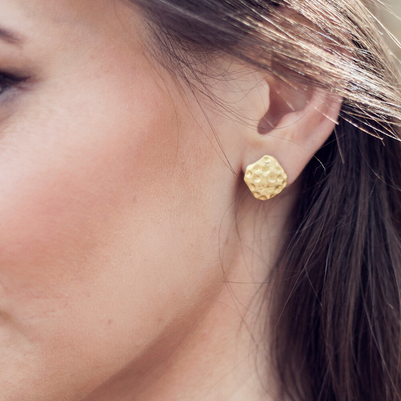 Gold Hammered Studs - Christina Greene LLC