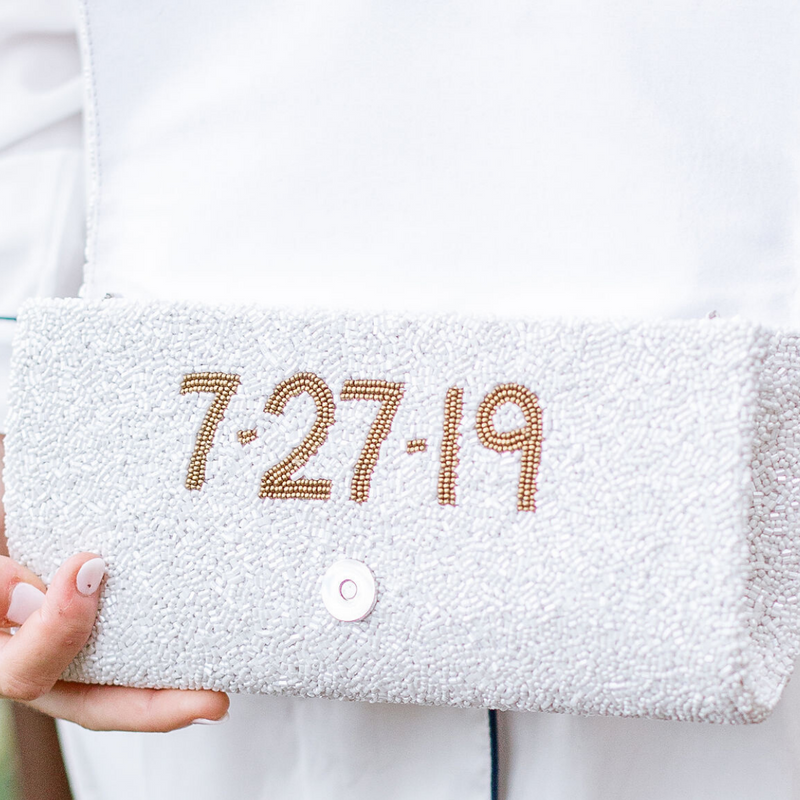 Custom Monogram Fully Beaded Clutch - Christina Greene LLC