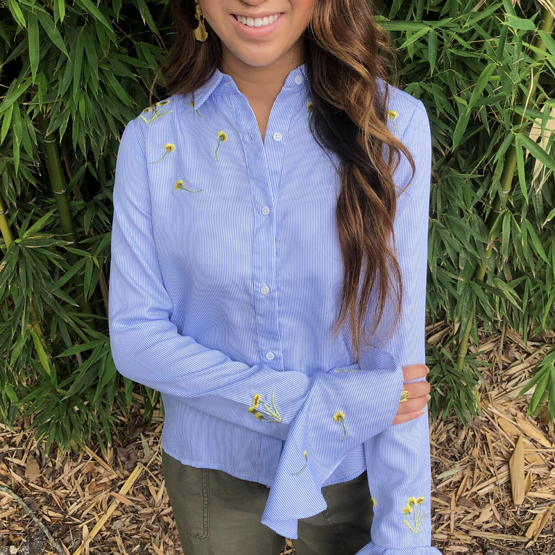 Embroidered Striped Button Down - Christina Greene LLC