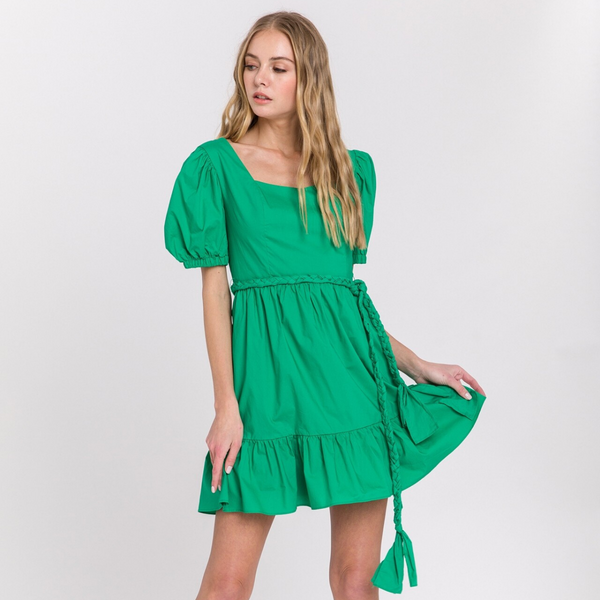 Green Tie Dress - Christina Greene LLC
