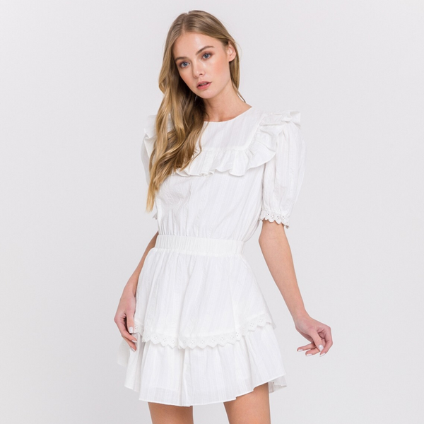 White Ruffle Babydoll Dress - Christina Greene LLC