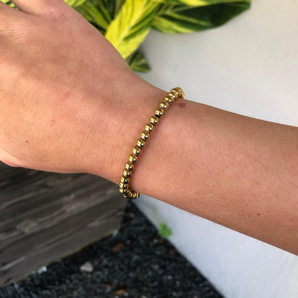 5mm Gold Beaded Bracelet