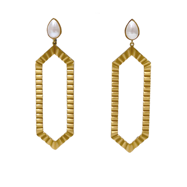 Strike Bold Statement Earrings - Pearl